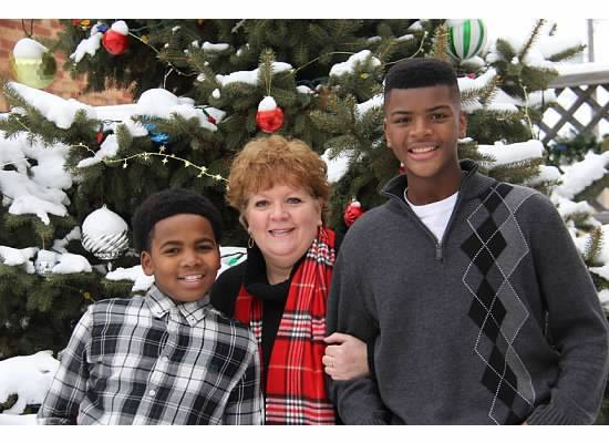 (Left to Right) Zeke, Diane, and Sam in their most recent Christmas card picture.