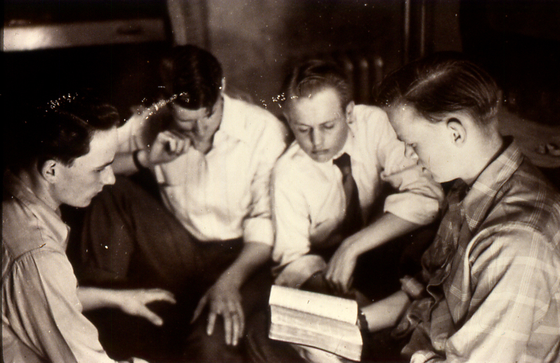 This photo of young men at Hillcrest in the 1940s shows new habits built inside Hillcrest's Castle.