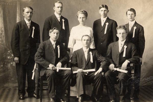 Lutheran Brethren Schools Graduating class of 1914 | Front Row (Left to right): Finn Larson; C.A. Ask; Lornts Aasheim. Back Row: Martin Valderhaug; Gilbert Stenoien; Marie Skovholt; Berge Revne; E.M. Strom