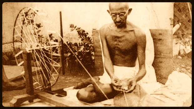 The foundation of Gandhi's vision was working towards peace with yourself through simple living and service to others. An early proponent of local economics and local self-sufficiency, pictured here with his spinning wheel.