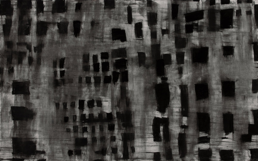 "Untitled 16.01   2017  charcoal on paper, 26"" x 41"""