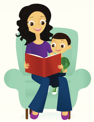 woman reading to child - free.png