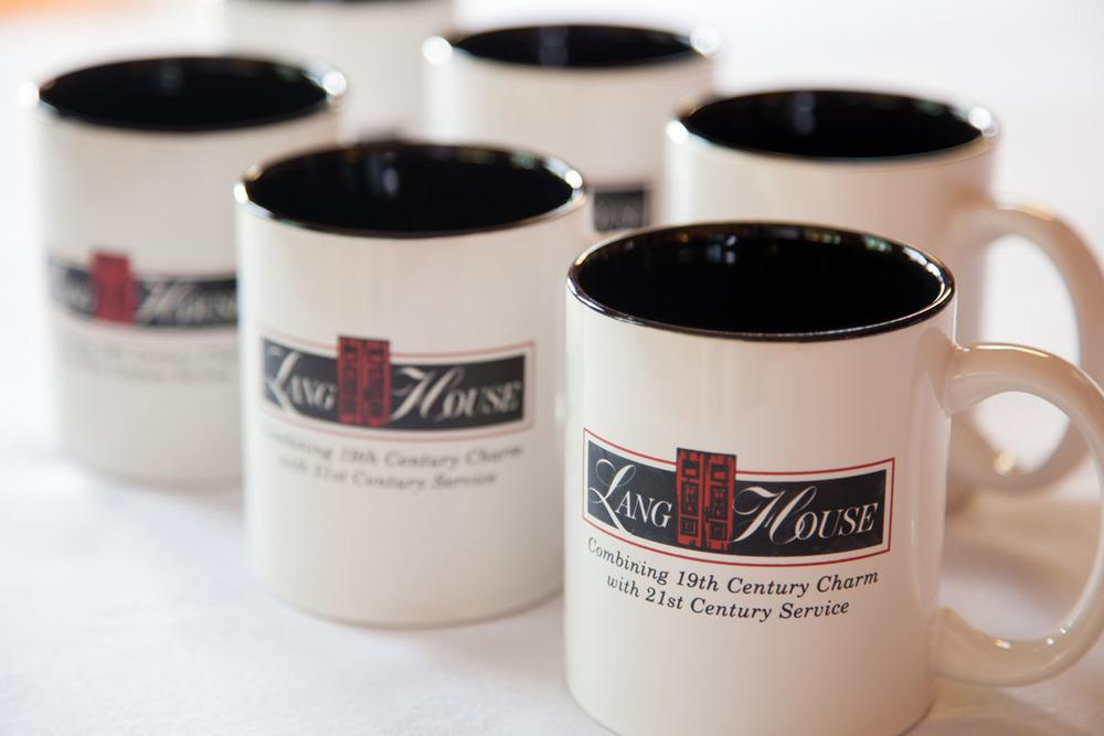 Lang House on Main Street, coffee mugs