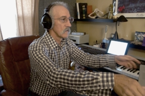 Brian recording Christy's narrations in his studio