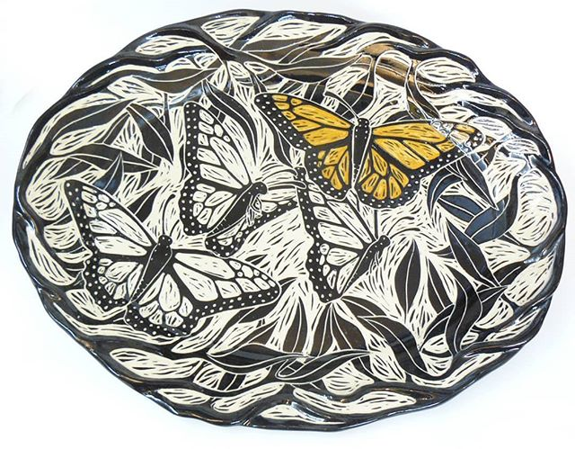 #monarch #butterfly #platter  https://rhoneypots.squarespace.com/holiday-sale-2017  #sgraffitto #sgrafitto #sgraffitto #sgraffitopottery #handbuilding #pottery #ceramics #ceramicstudio #handmadeceramics #iloveclay #potterysale #lizrhoneypots #rhoneypots #etsy #blackandwhitepottery #natureinspiredpottery  #wheelthrown #womanowned #supportsmallbusiness #giftideas #madeinaskutt #kpfa #cranewaycraftsfair @kpfaradio @cranewaycraftsfair #craftfair