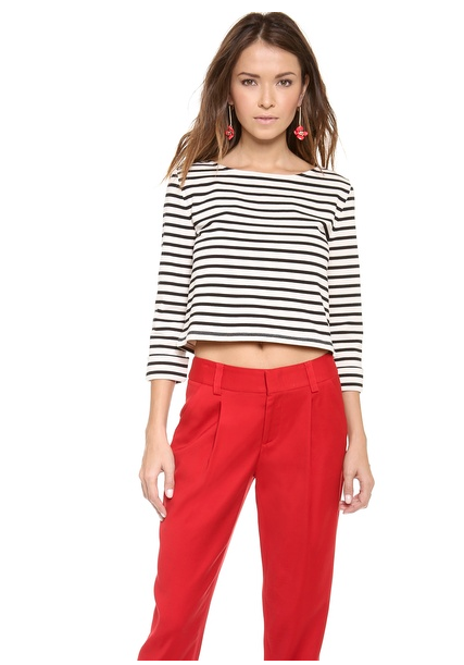 Alice and Olivia Crop Outfit Red Pants