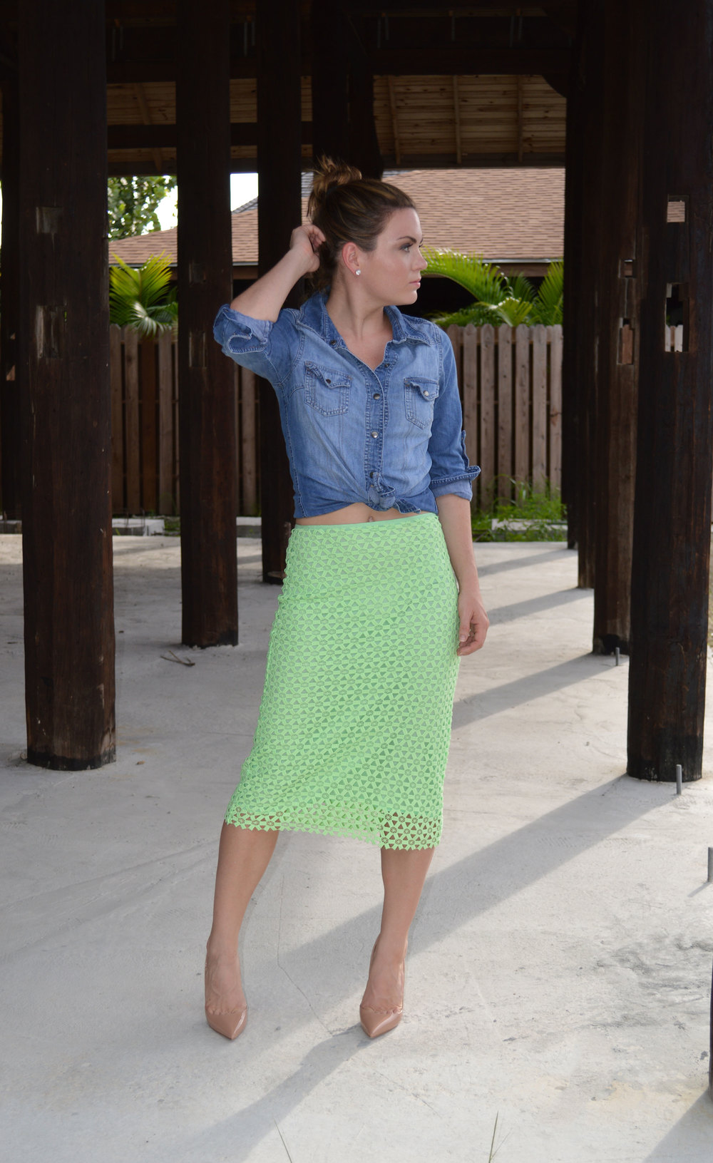 Denim-Button-forever21-Down-Zara-green-lace-Pencil-Skirt-FromCtoC-nassau-bahamas-christian-louboutin-so-kate-nude-lifestyle-style-fashion-blogger.jpeg