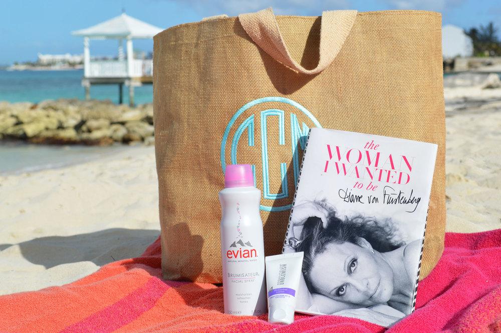 ISola-Beach-Bag-Monogrammed-Evian-Spray-Rodan-Fields-Sunscreen-DVF-Beach-Read-Nassau-Bahamas.jpeg