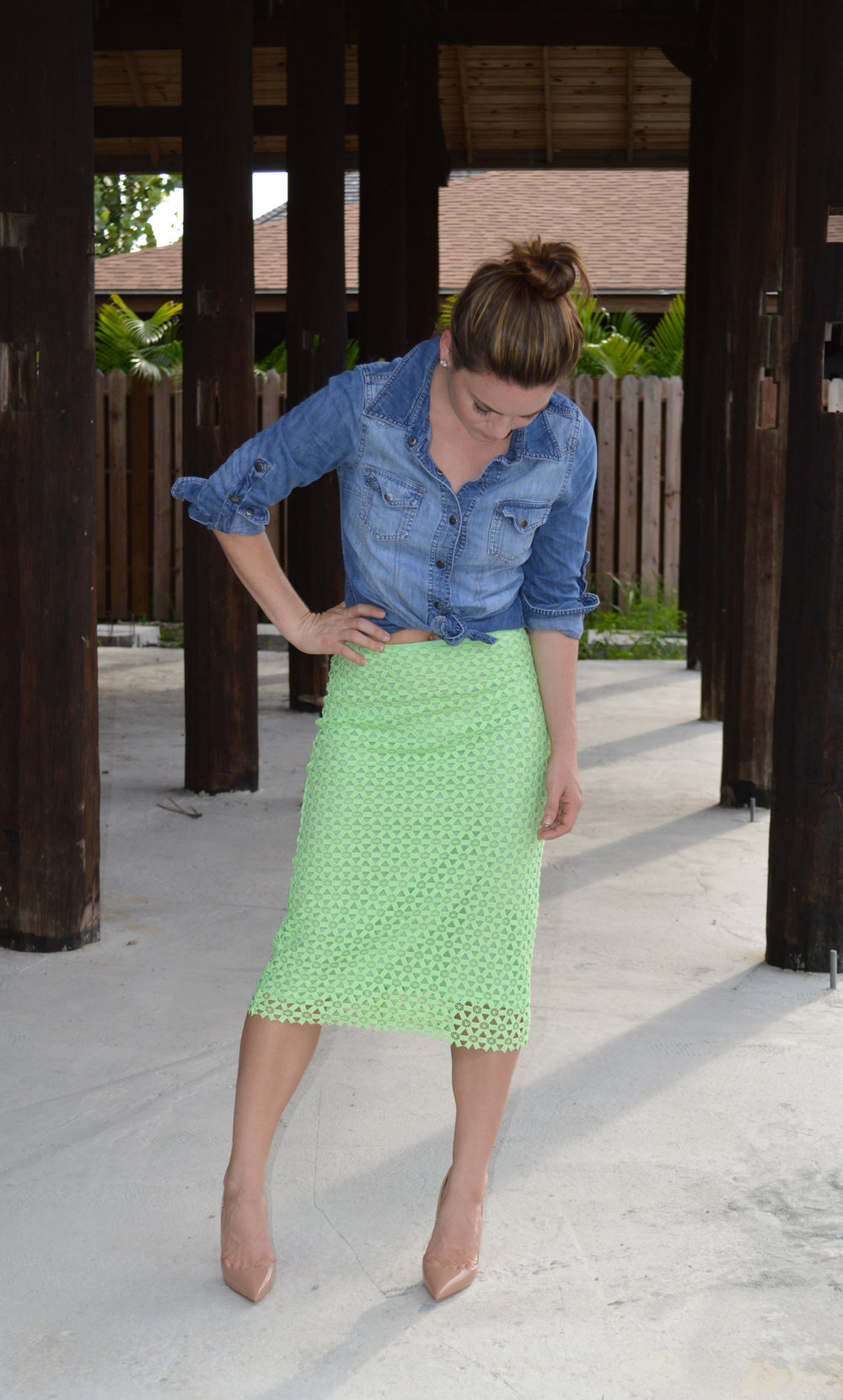 Zara Green Pencil Skirt Summer Staple denim shirt Christian Louboutin Heels Spring Blog Blogger Nassau Bahamas Miami