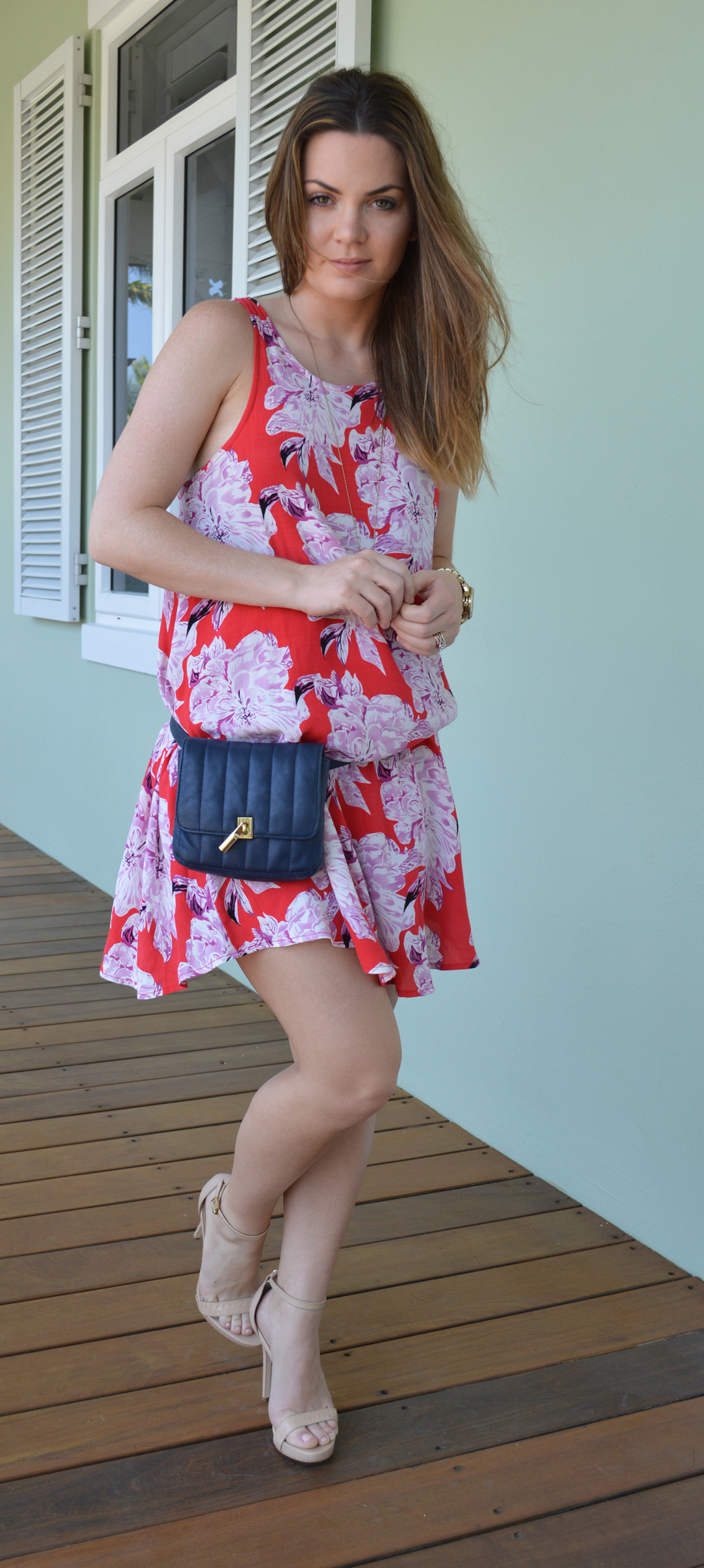 Nordstrom-Floral-Dress-elizabeth-jame-belt-bag