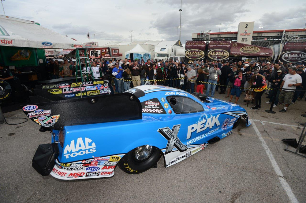 The crowd checks out the new-look Peak Antifreeze and Coolant–sponsored Funny Car