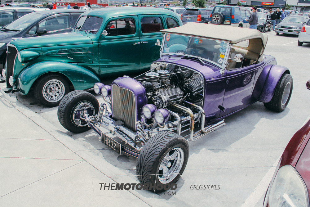 From Harbour City Rod Club is Mike Udjur's '32 Ford Roadster which is virtually unchanged from its show-winning days in the seventies. With a 327ci Corvette engine, channelled body, and multiple body modifications it epitomizes the golden era of hot rodding