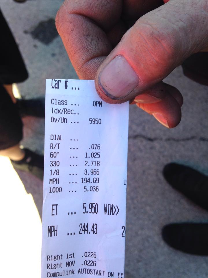 Larry Larson achieves a 5.950 at 244.43mph during 2014 Hot Rod Drag Week