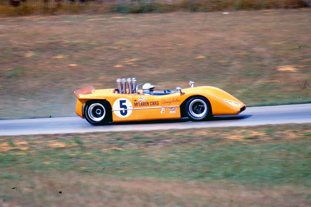 The championship-winning McLaren Can-Am car in action