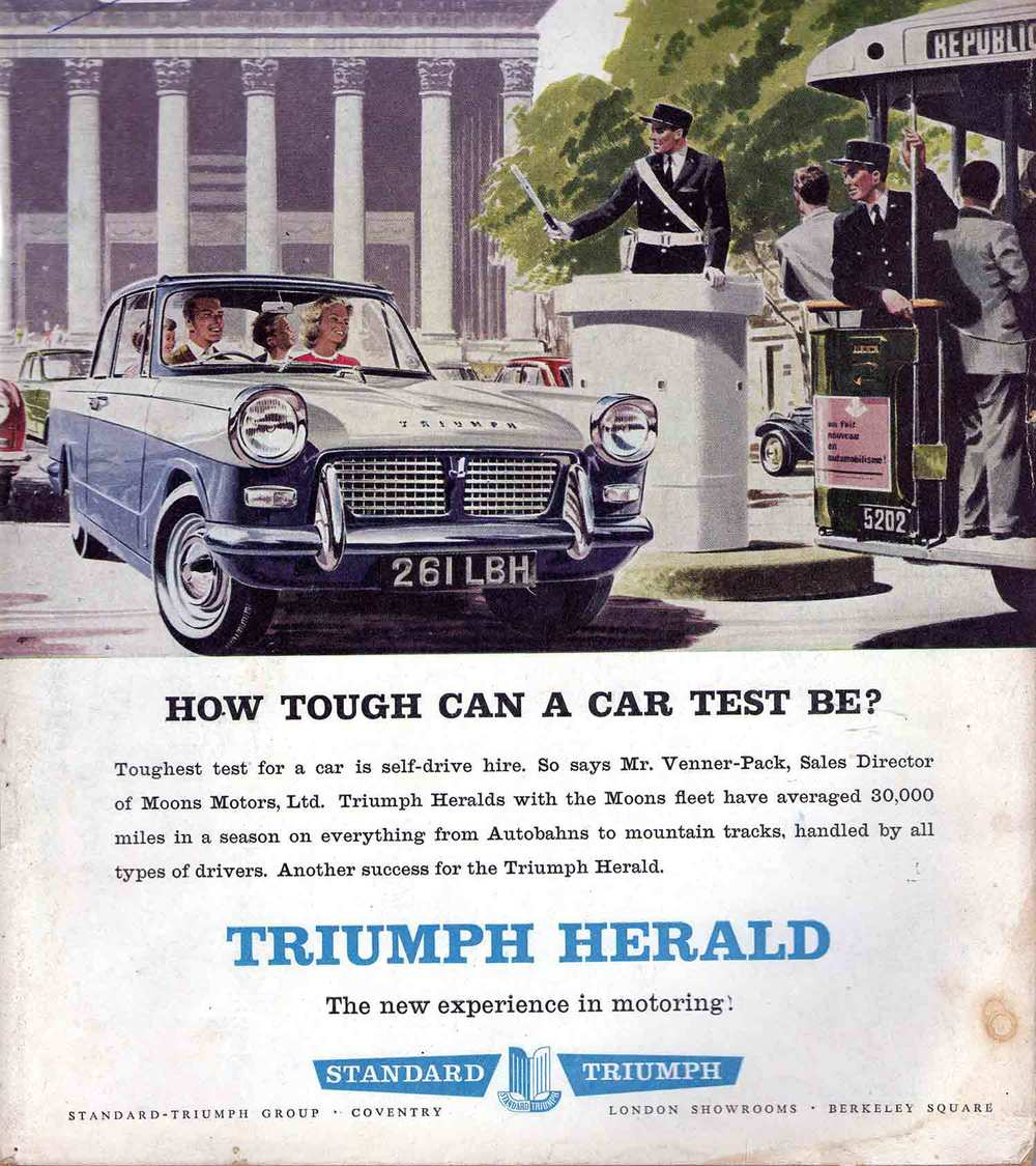 "An early 1960 British magazine advertisement for the Herald described the car as ""The new experience in motoring"". This was prior to the Leyland takeover"