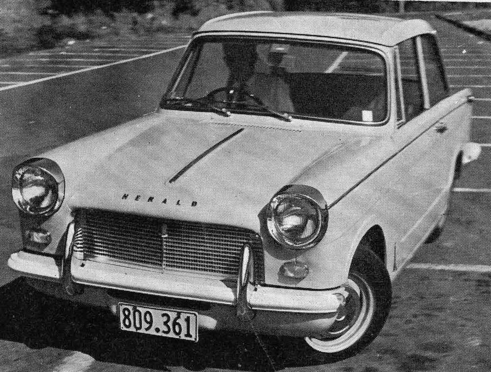 Donn Anderson road testing the Triumph Herald in Auckland in 1964. Note the registration number, indicating it is the same car used in the local distributor's press advertising (which we also have a picture of below)