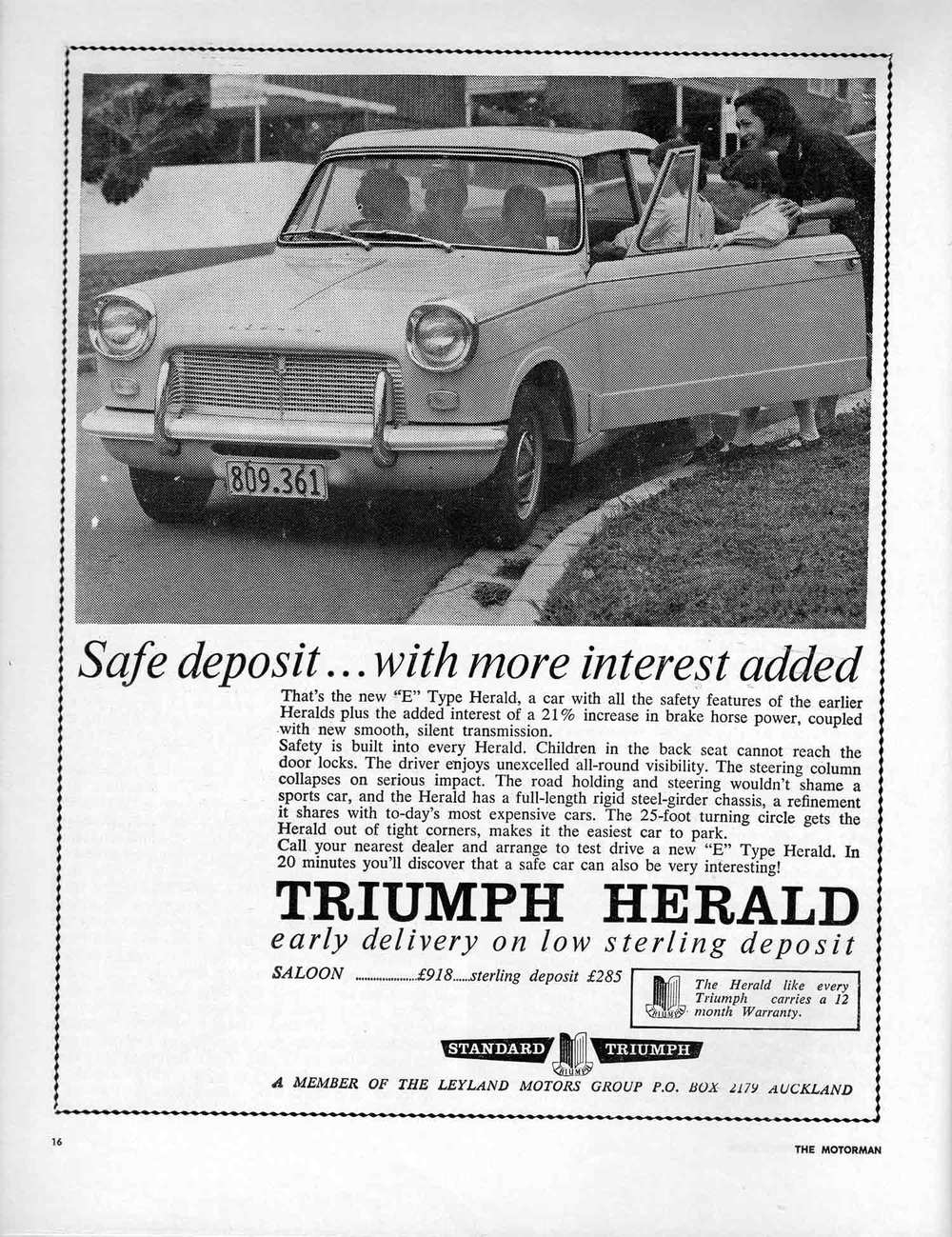 The Leyland Motors Group advertisement for the Herald, which appeared in 1964. This is the same car road tested by Donn in Motorman magazine