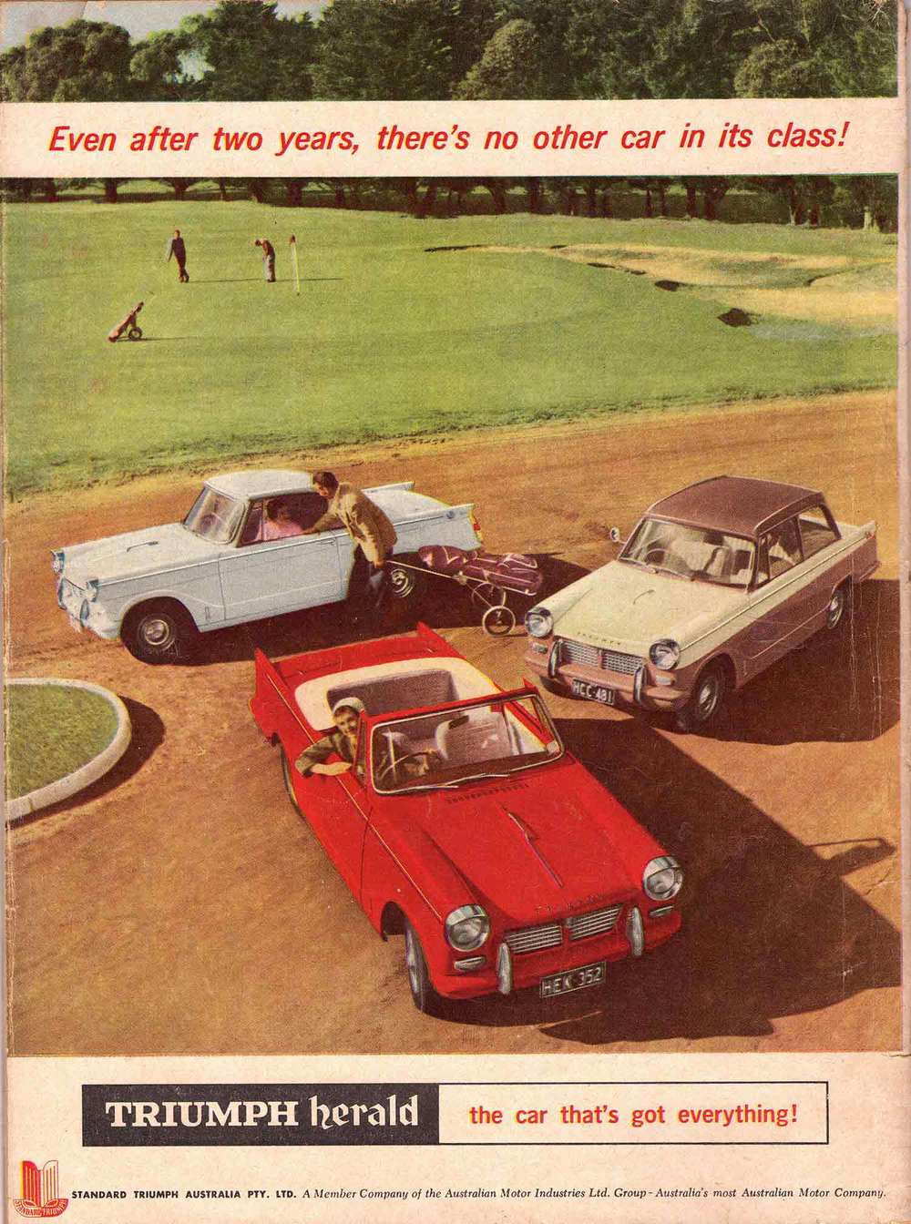 Australian advert from 1961 showing all three Herald variants — sedan, coupé, and convertible.