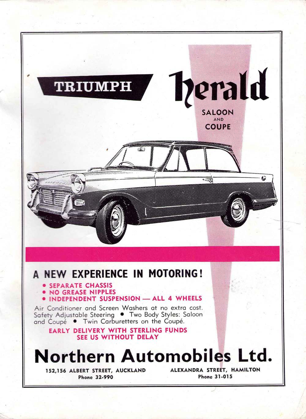 A Northern Automobiles Ltd advert from 1960 showing the original Herald
