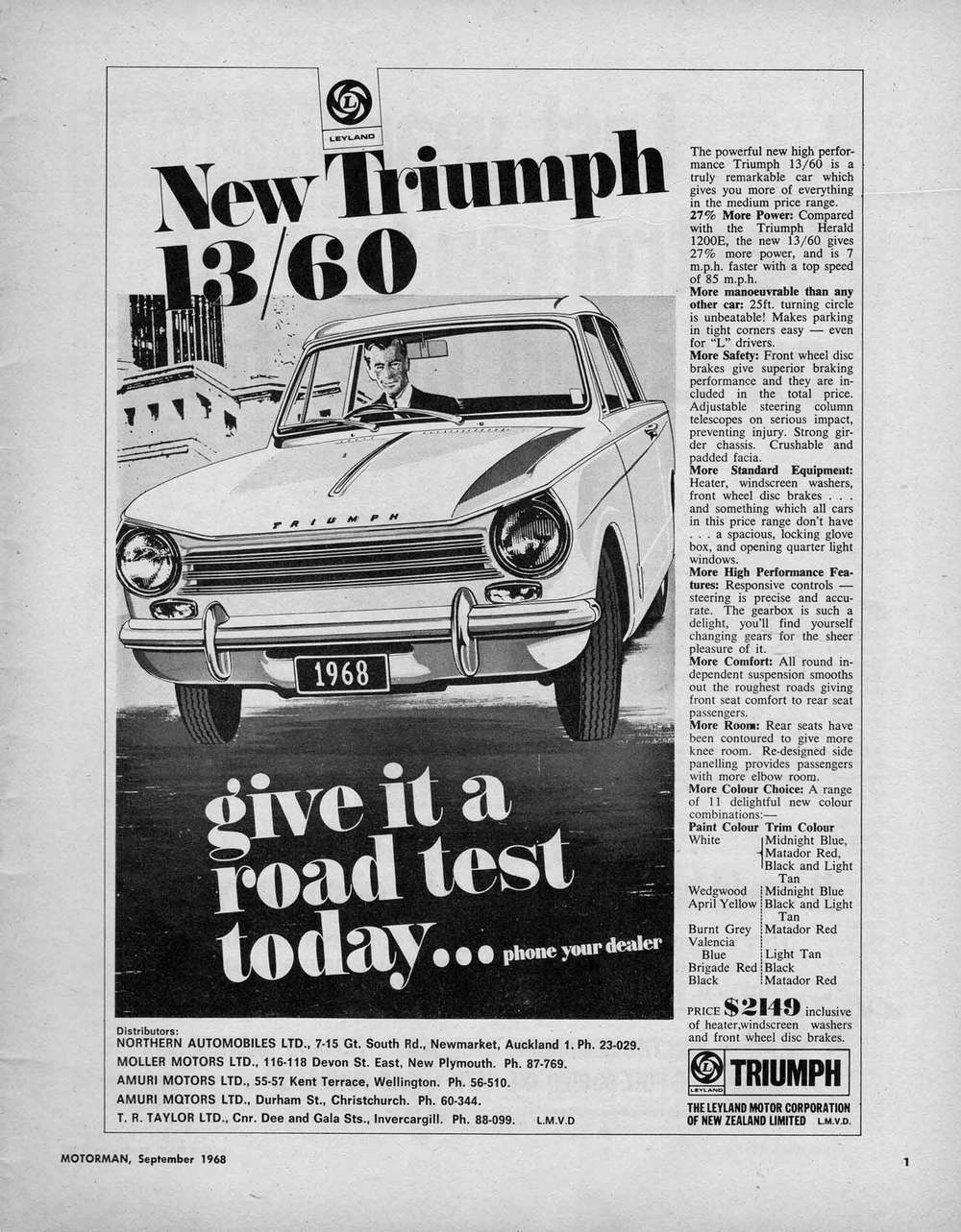 British Leyland Motor Corporation advert that appeared in the September 1968 edition of Motorman shows how the Herald's styling changed over an eight-year period