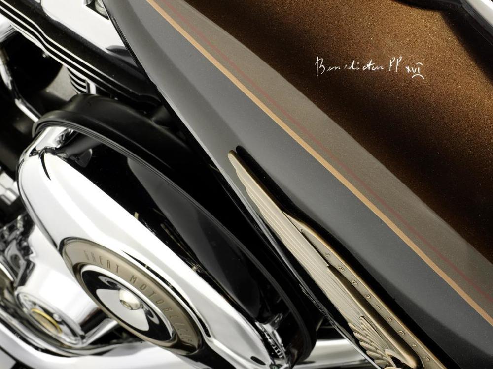 Pope Emeritus Benedict XVI's signature on the petrol tank