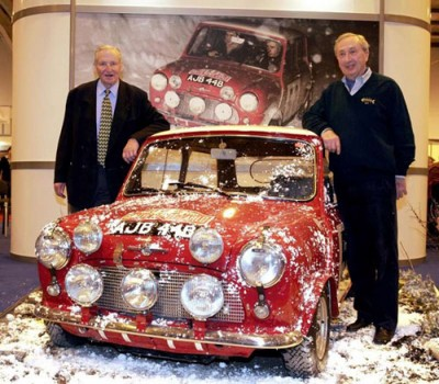 Timo Makinen (left) and Paul Easter reunited with their 1965 Monte Carlo-winning Mini