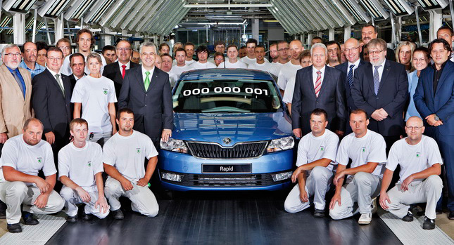 No political prisoners here! Workers at Skoda's Mlada Boleslav factory