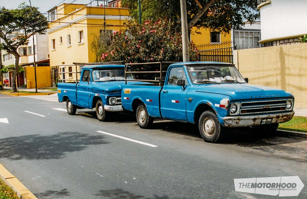 A couple of hard-working Chev pickups from the '60 s and '70s seen in central Lima