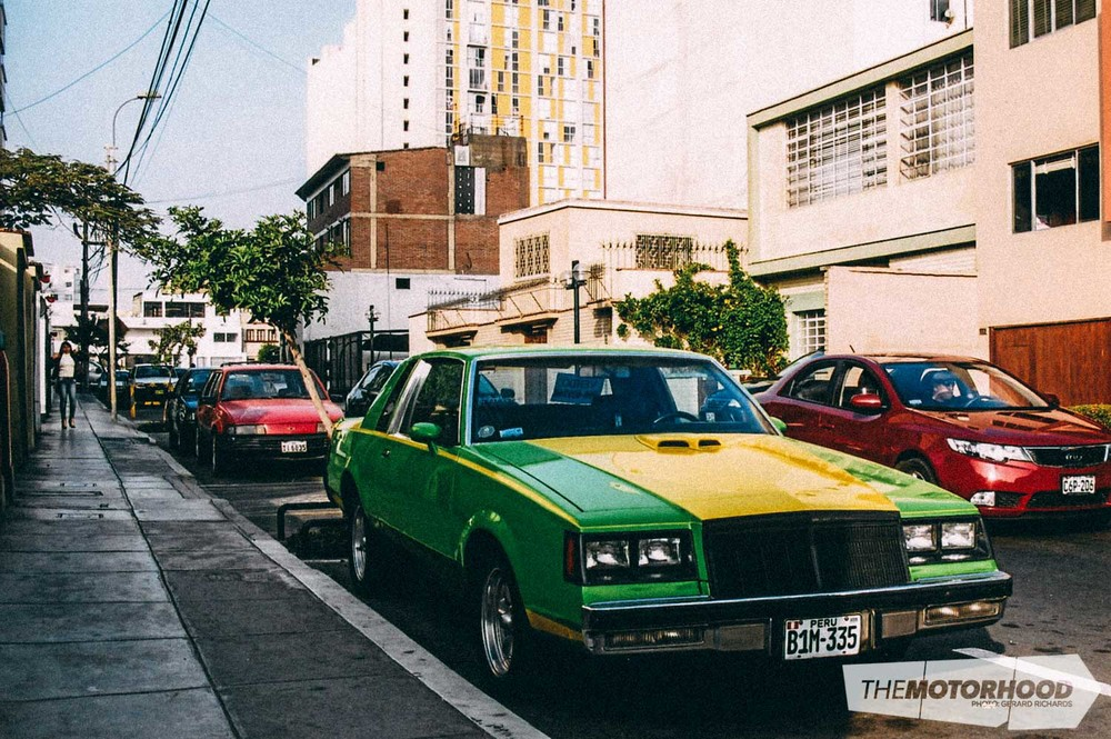 This customized and 'restored' car was for sale in Lima — looks like it could be a mid-to-late-'70s Oldsmobile