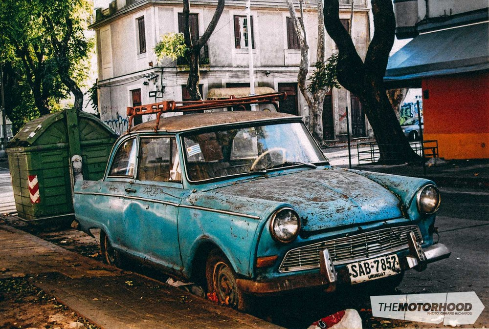 Discovered just around the corner from the author's hotel in Montevideo — derelict-but-cute–looking car which looks like it could be a '60s Opel