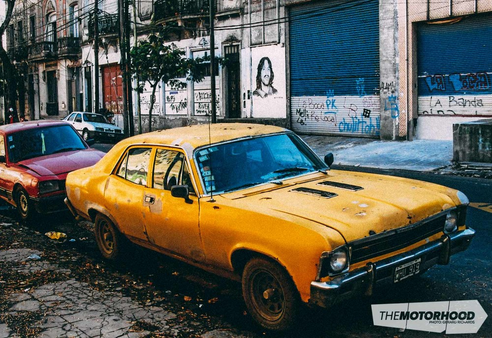 Well-used early '70 s Chevrolet Nova/Malibu spotted in the slightly dodgy backstreets in the soccer-mad suburb of La Boca, Buenos Aires