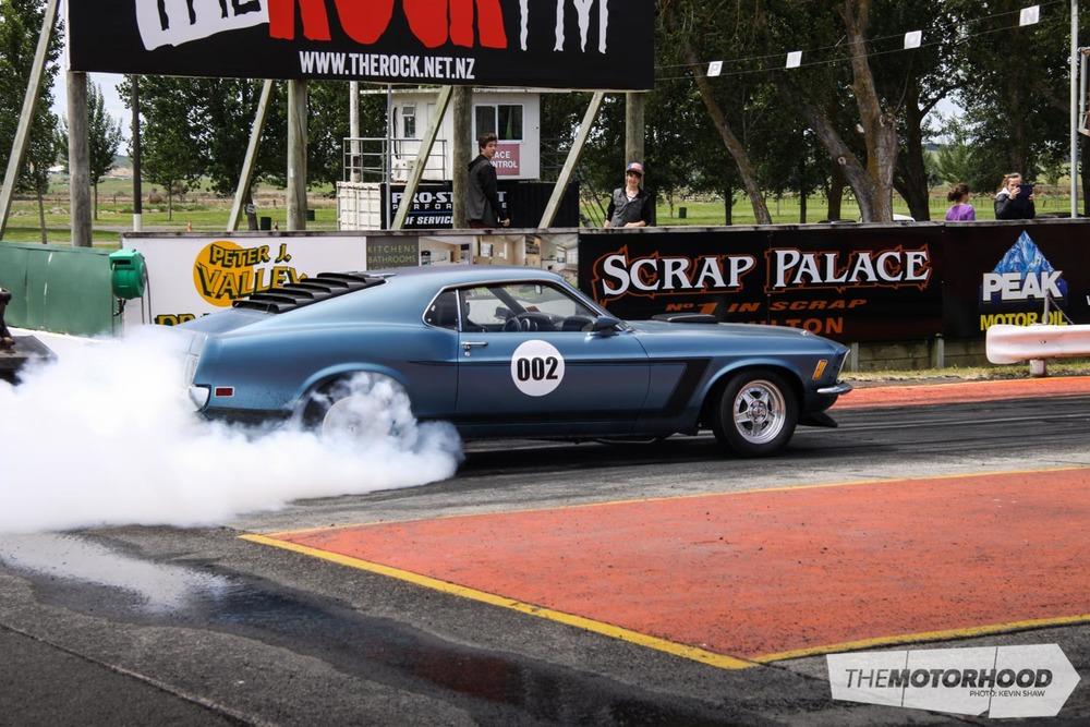 Ray Peterson in a strong sounding Mustang running 11.0's launching hard on the rev limiter every pass.