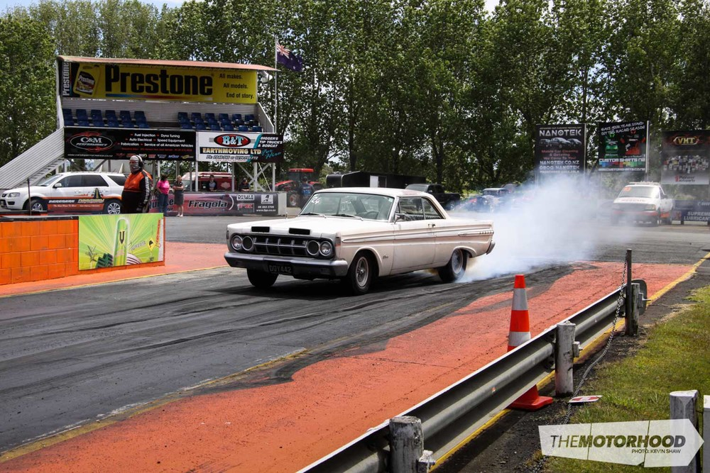 """Wheels"" in his 1964 Mercury Comet Caliente ran consistent 14.3's at 99mph, not bad for a little 302!"