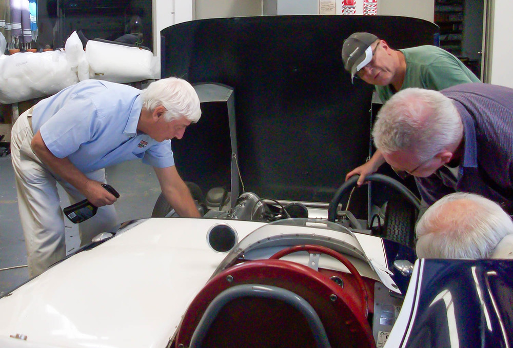 Howden (left) helps out as we polish up his Lotus XI for our photo shoot