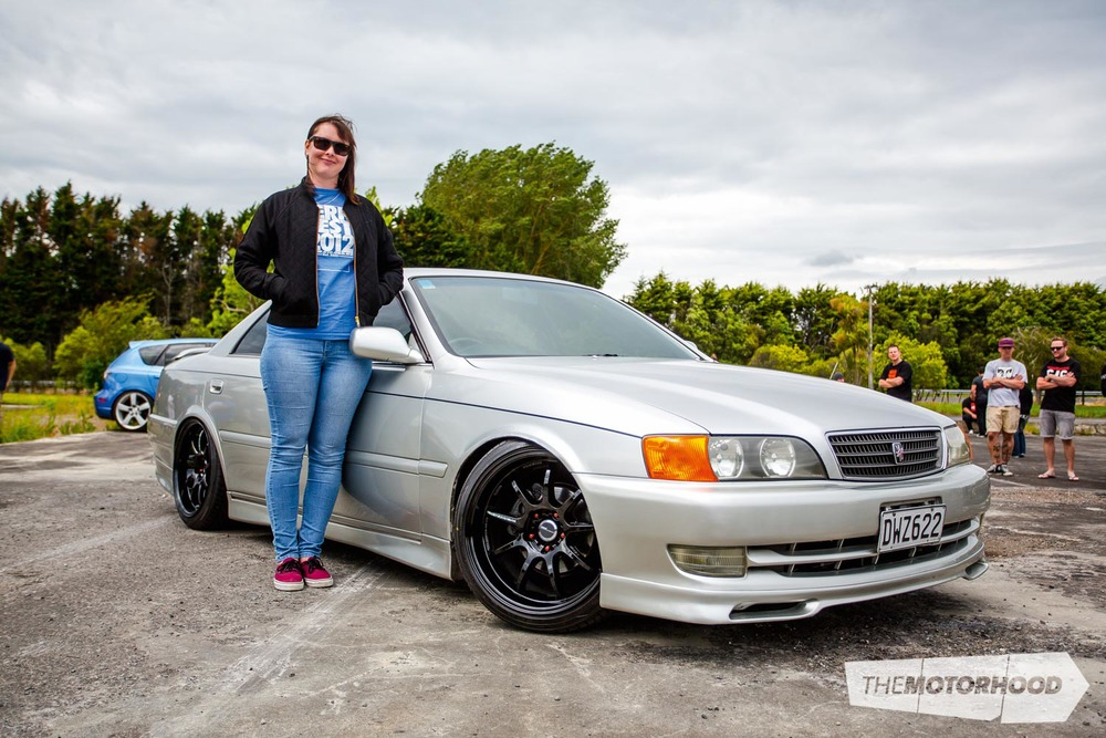 Name: Kerryn Sutherland Car: 1998 Toyota Chaser JZX100 Wheels: 18x9-inch Work D9Rs