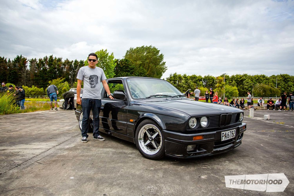 Name: Peter 'Fag-swag' James Car: 1988 BMW E30 Specs: Slammed  Wheels: 15x7-inch Work Equips