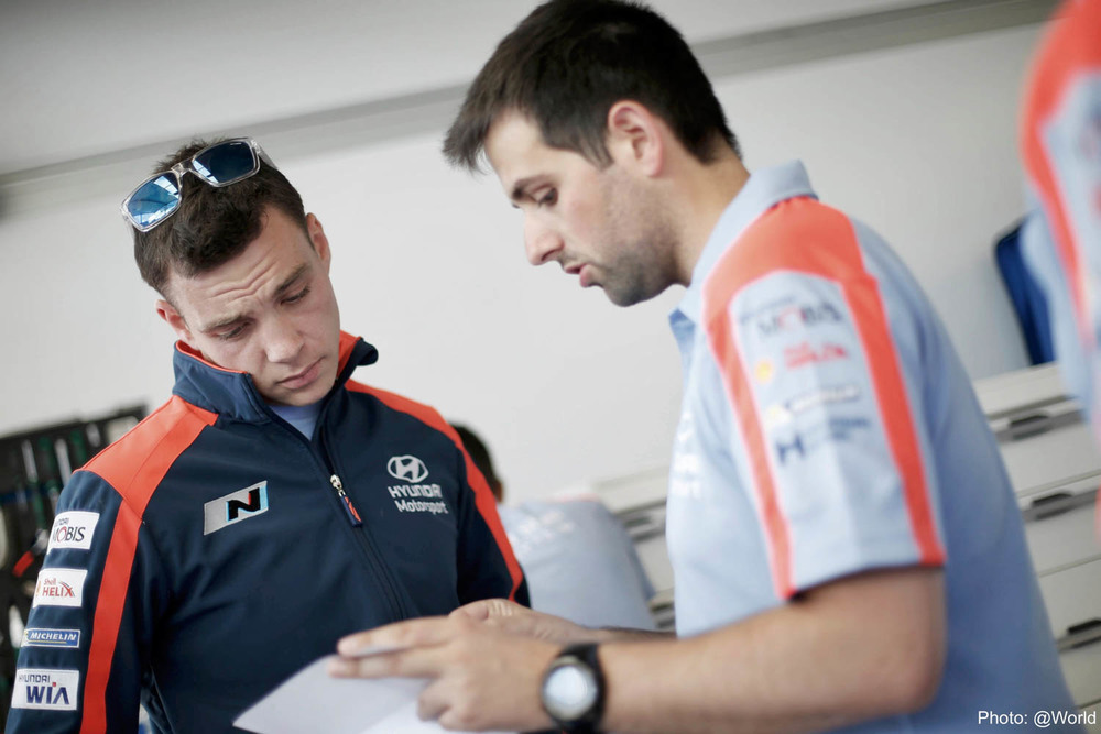 Hayden Paddon and engineer WRC Rally Poland shakedown Thursday_2 Vettas Media.jpg