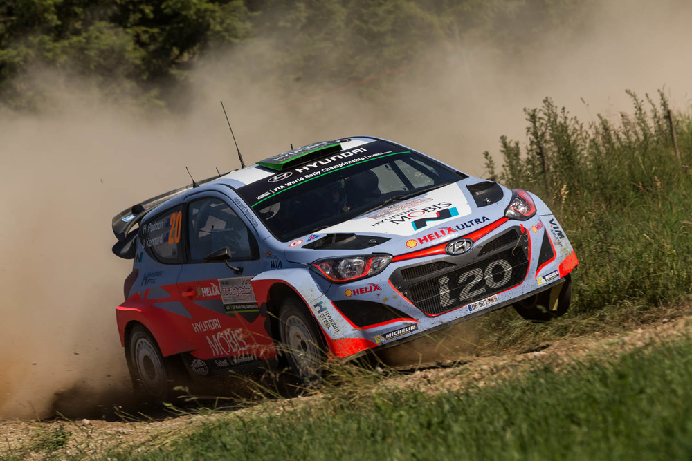 Hayden Paddon and John Kennard WRC Rally Poland action Friday_1 Vettas Media.jpg