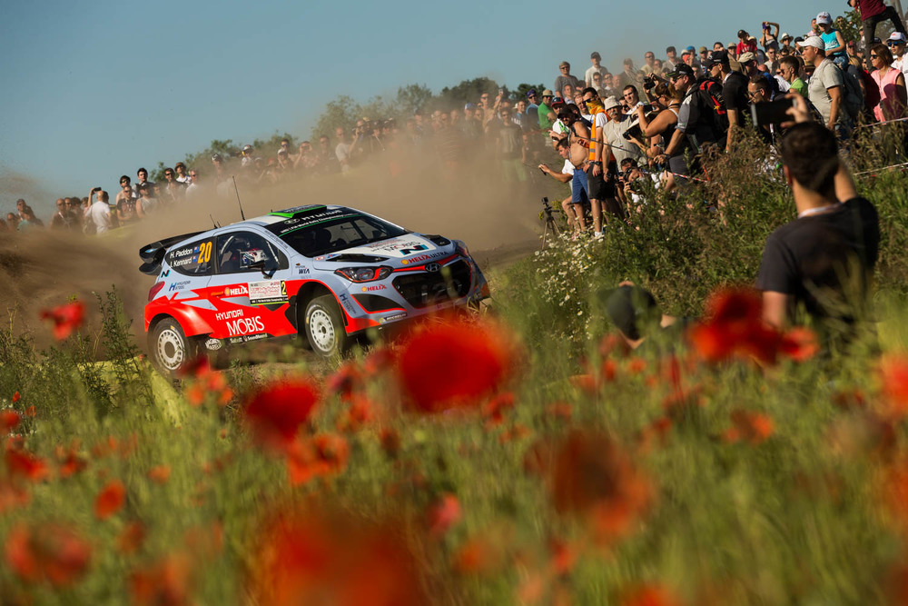 Hayden Paddon and John Kennard WRC Rally Poland action Friday_3 Vettas Media.jpg