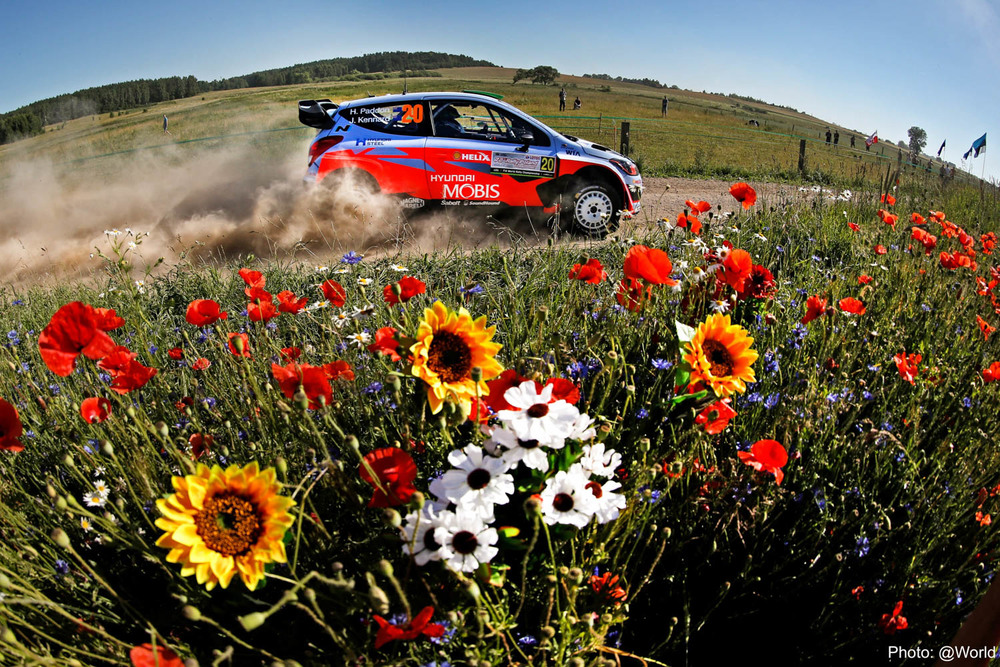 Hayden Paddon and John Kennard WRC Rally Poland action Friday_2 Vettas Media.jpg