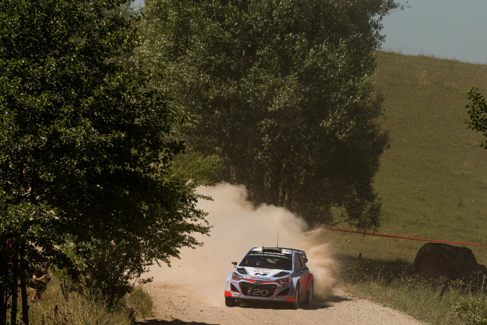 Hayden Paddon and John Kennard WRC Rally Poland action Friday_4 Vettas Media.jpg