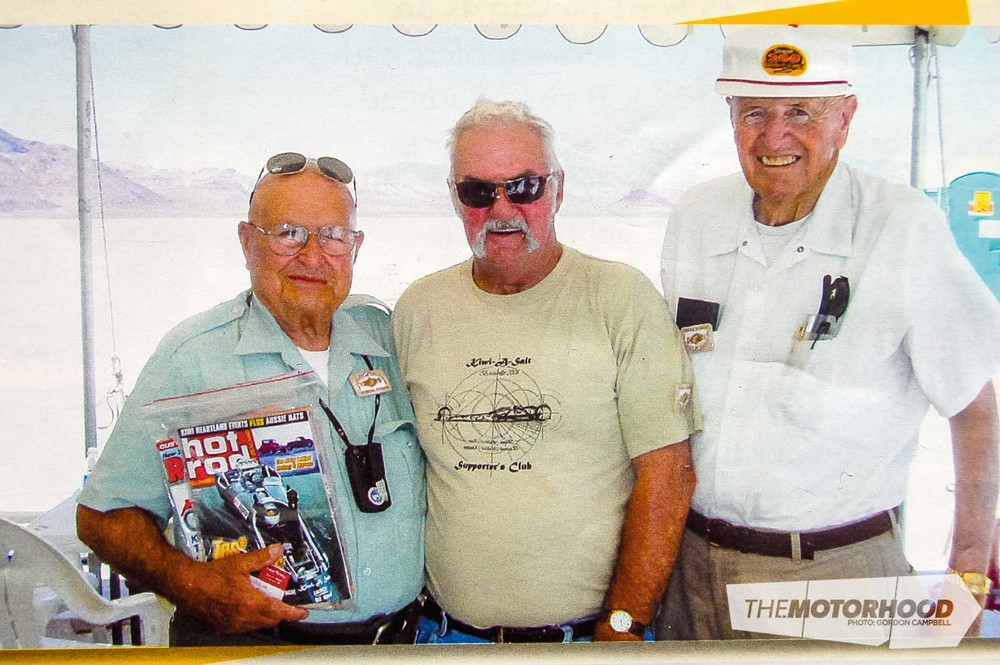 Fred & Kathy Boggiss Fred (centre) with Ed Iskendarian (left), famous US designer of camshafts and other hot-up parts, at Bonneville (4).jpg