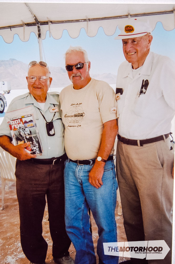Fred & Kathy Boggiss, Fred (centre) with Ed Iskendarian (left), famous US designer of camshafts and other hot-up parts, at Bonneville (6).jpg