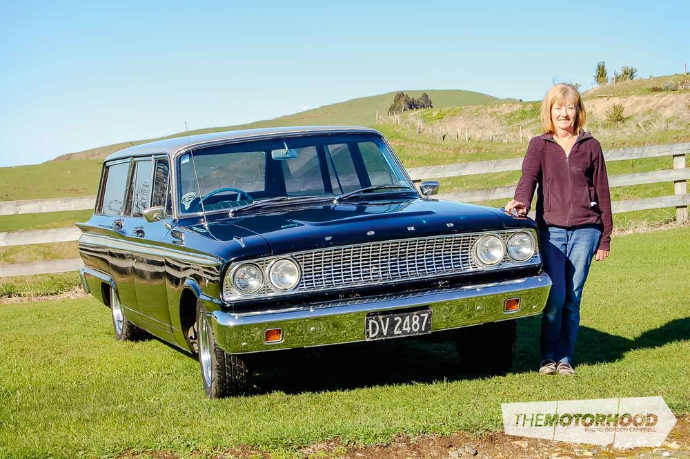 Fred & Kathy Boggiss, Kathy with her Fairlane Wagon (12).jpg