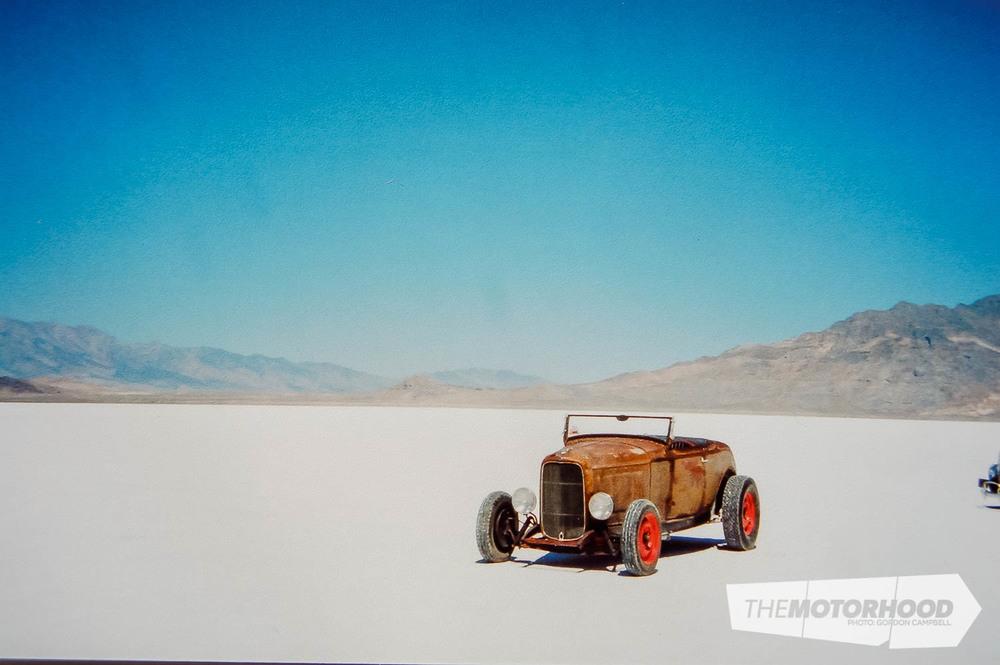 Fred & Kathy Boggiss, lone hot rod on Bonneville Salt Flats (5).jpg