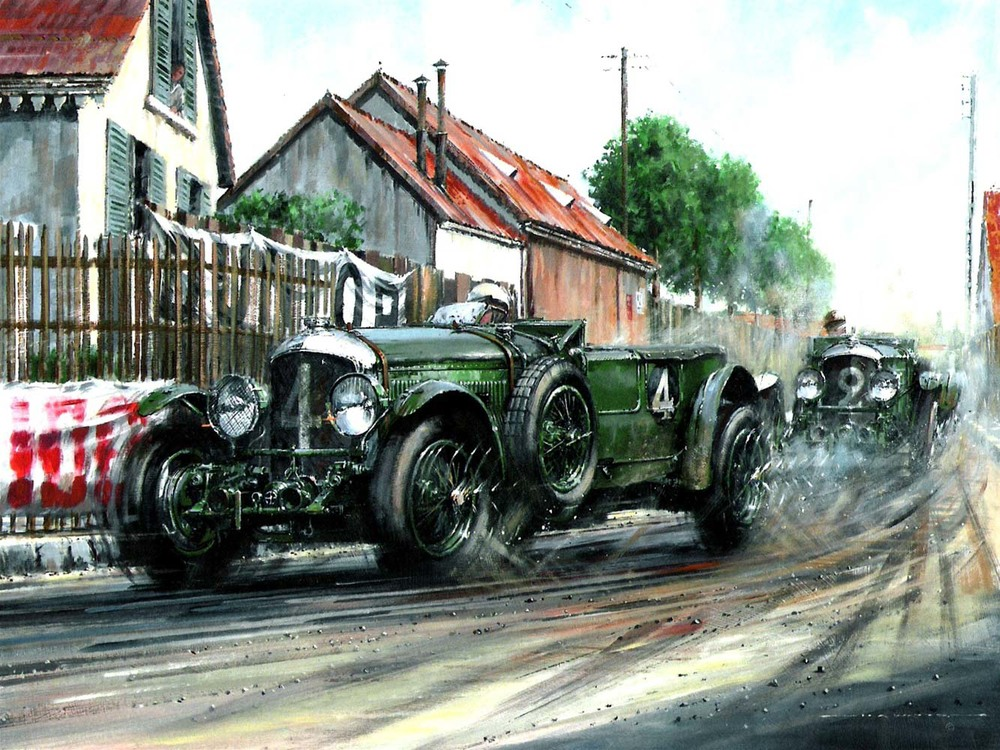 Bentleys at Le Mans painting / Bentley Motors