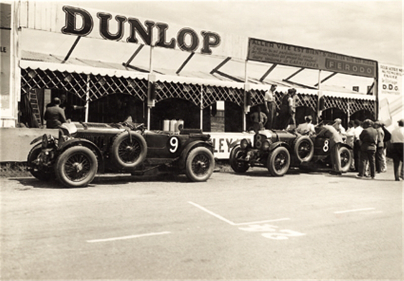 A brace of Blower Bentleys in the pits during practice for Le Mans in 1930 / Bentley Motors