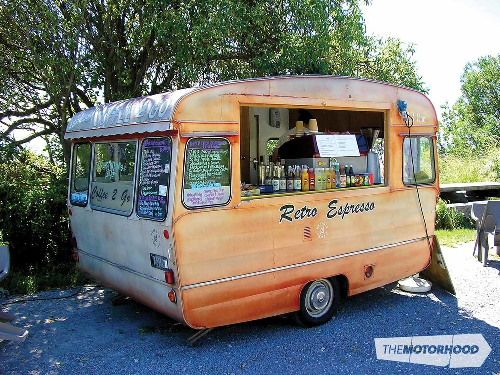 This 'Retro Espresso' — made by Classic Caravans during the '60s or '70s — is now in use as an ice cream and coffee shop at Jimmy's Beach in Kaikoura