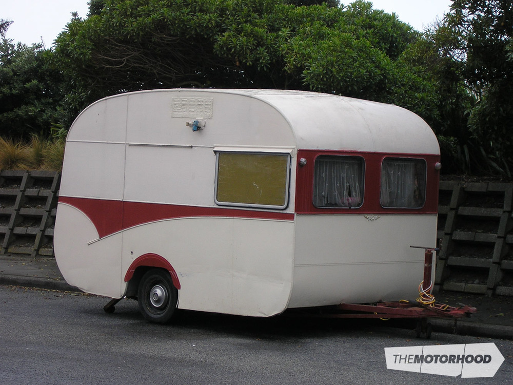 Often parked in Marine Parade, New Brighton, Christchurch, this '60s caravan is used by fishermen on the pier