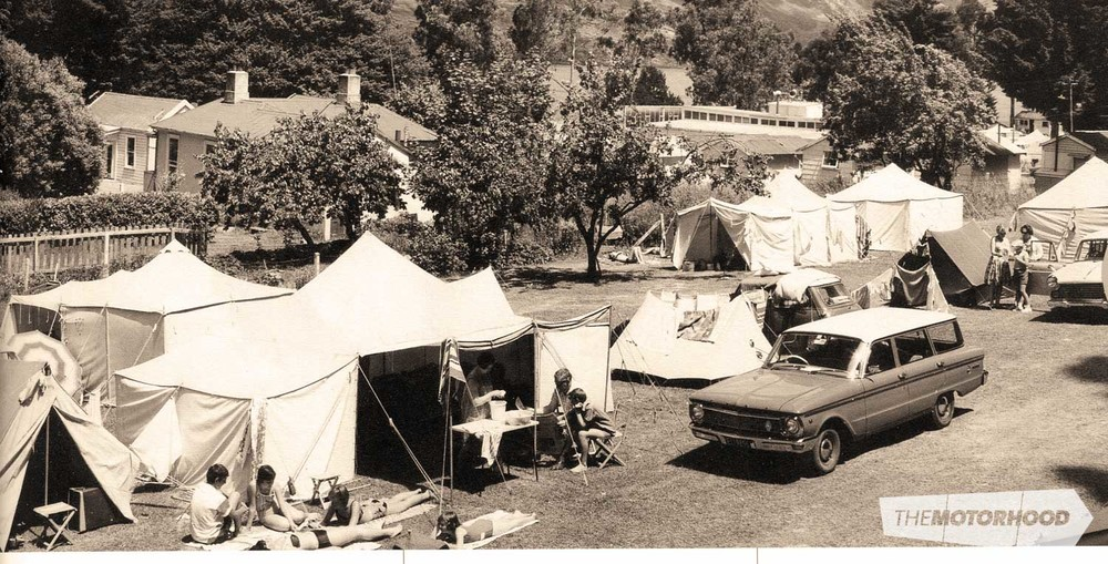 The family Falcon XP Estate parked up at Queenstown Motor Camp in 1967